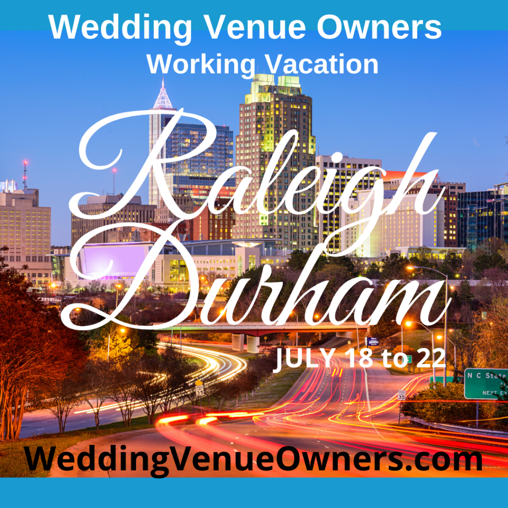 Raleigh Durham Wedding Venue Owners Working Vacation